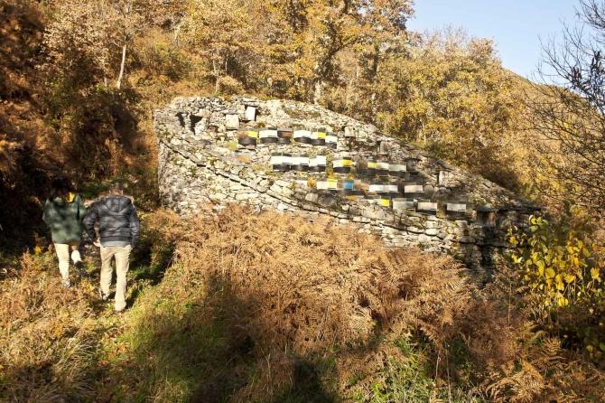 Cortín, una típica construcción en esta zona para proteger las colmenas de los osos.